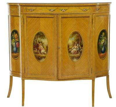 Late 19Th Century Sheraton Revival Satinwood Inlaid And Painted Cabinet