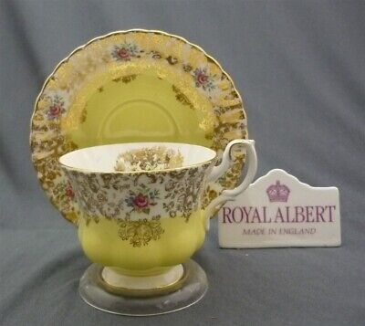 Vintage Royal Albert England Gold Yellow Picardy Series Tea Cup & Saucer Duo