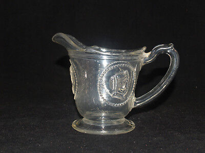 Antique Victorian Eapg Ceres Pattern Glass Creamer Cream Pitcher Portrait