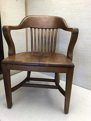 BL Marble Chair, Co.Antique Solid Maple Bankers Chair. Made In Bedford, OH.