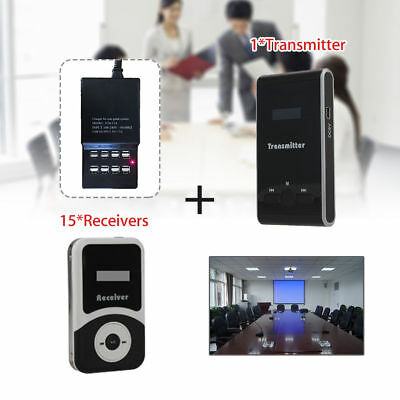 ATG-100 Wireless Audio Tourism Guide Explanation System Transmitter+15 Receivers
