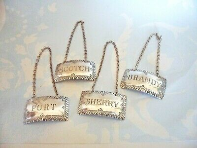 Set of 4 Vintage Stieff Sterling Silver Williamsburg Liquor Decanter Tags Labels