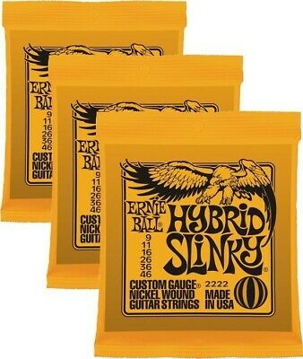 3 Sets Ernie Ball 2222 Hybrid Slinky Nickel Wound Electric Guitar Strings 9-46