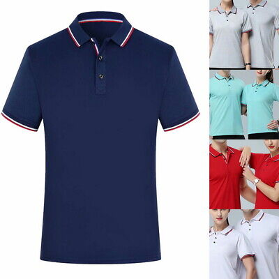 Men's Solid Short Sleeve Polo Shirts Casual Button Closure T-shirt DIY Tee Tops