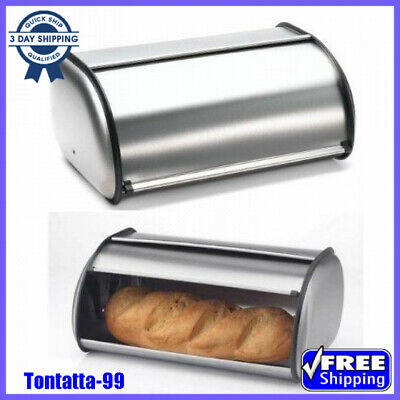 NEW Large Stainless Steel keeps Bread Box 2 Loaf Storage Kitchen Food-Container
