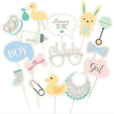 15Pcs Boy Girl Baby Shower Photo Booth Props Birthday Party Unisex Decor Dasha