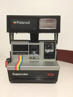 Polaroid Originals Camera 600 Refurbished Supercolor 635 W/ Couch Leather Strap
