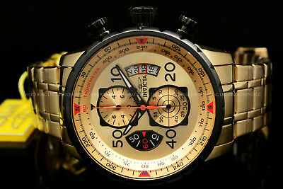 Invicta AVIATOR 48MM 18K Gold Plated Gold Dial Tachy S.S Chrono Bracelet Watch