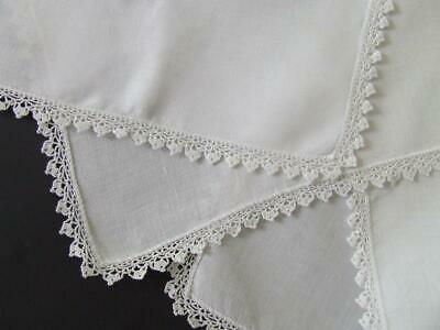 Matching Plain White Vintage Linen Centre Mats with Finely Hand Crocheted Edges