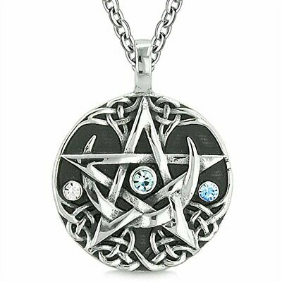 Celtic Pentacle Necklace, Wicca Pentagram Star Charm Pendant Jewelry Pagan Gift