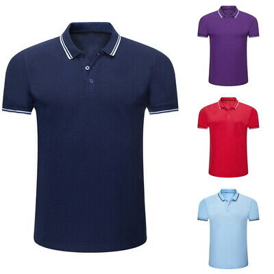 Casual Men's Loose Short Sleeve Tops Button Closure Polo Shirts Solid T-shirt SF