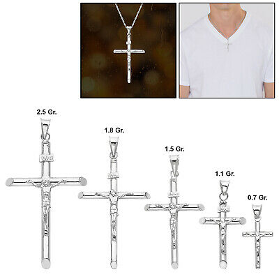 Mens 14k Real White Gold Jesus Crucifix Cross Religious Pendant