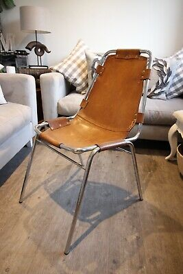 Set Of 3 Mid Century Charlotte Perriand Les Arcs Chairs Chrome Leather Seats