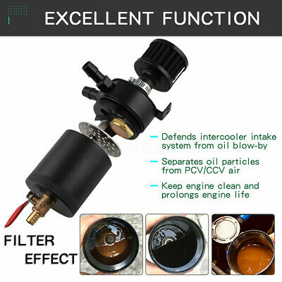 Universal 2-Port Oil Catch Can Tank Reservoir with Drain Valve Breather Baffle
