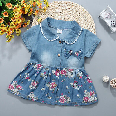 Beautifuly Girls Short Sleeve Princess Dress Outfit Denim Party Sundress