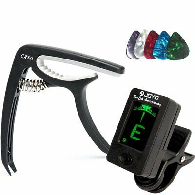 Digital Electronic Clip-On Guitar Tuner w/ LCD Display & Black Guitar Capo Set