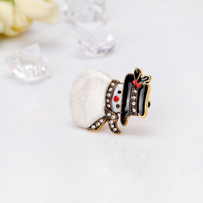 Lovely Christmas Crystal Snowman Brooch Pin Corsage Family Xmas Party Jewelry JJ