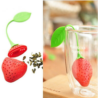 Silicon Strawberry Shape Leaf Strainer Herbal Spice Infuser Tea Filter Diffusers