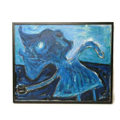 Mid Century Large Signed Abstract Figural Textured Impasto Vintage Oil Painting