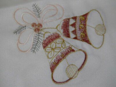 vintage set of 2 Tablecloths Christmas Bells Holly Berry Embroidered 32 x 32