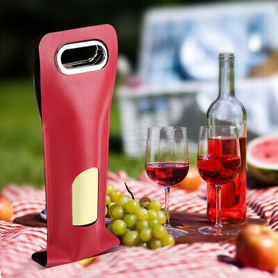 Red Portable Soft PU Leather Wine Bottle Carrier Carrying Case Wedding Gift Bag