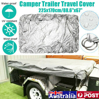 Outback Camper Trailer Cover Travel Tent Polyester Waterproof Bag Rope 225x170cm