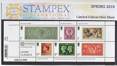 2019 STAMPEX STAMP CLASSICS MS OVERPRINT PRIVATE PRESENTATION PACK Just 10 EXIST