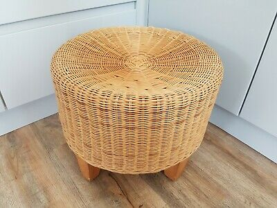 Swell Small Wicker Footstool Retro Rattan Light Grey Wood Light Onthecornerstone Fun Painted Chair Ideas Images Onthecornerstoneorg
