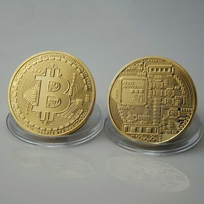 New Bitcoin Physical Collectible Coin BTC Gold Plated 1 Ounce 40mm - Great Gift