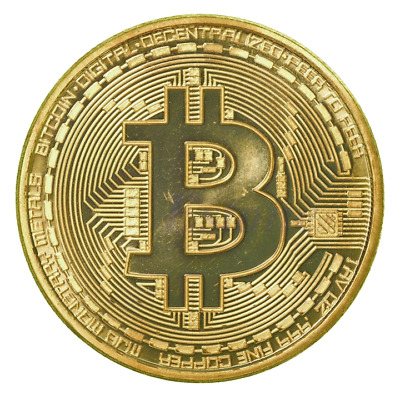 Novelty Gift Bitcoin Physical Collectible Coin BTC Gold Plated 40mm - UK STOCK
