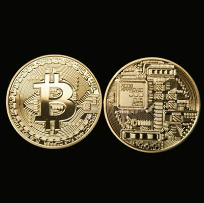 Novelty Gift Bitcoin Physical Collectible Coin BTC Gold Plated 40mm - UK STOCK.