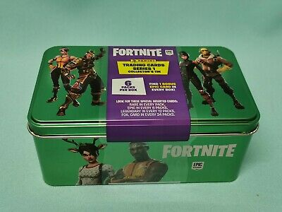 Panini Fortnite Serie 1 Trading Cards Collectors Tin Box 6 Booster + Epic Card