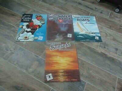 4 Vintage How To Paint Art Books Boats Water Weather Sunsets Butterflies Moth