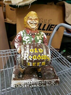 Vintage Old Reading Beer Bar  Pennsylvania Dutch Statue Chalk Man Figure Display