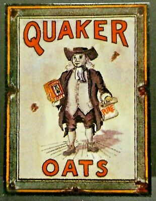 "Dollhouse Miniatures Metal Sign Advertising QUAKER OATS 2.25"" x 3"""