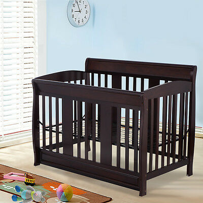 4 in 1 Coffee Pine Wood Baby Toddler Bed Convertible Crib Nursery Room Furniture