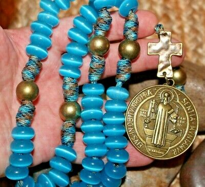 Sky Blue Stone Exorcist St. Benedict Unbreakable Paracord Rosary DC 521