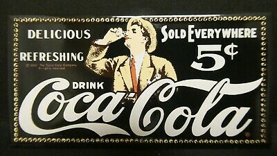 "Dollhouse Miniatures Metal Sign Advertising Coke 5c COCA COLA 3 1/4"" x 1 5/8"""