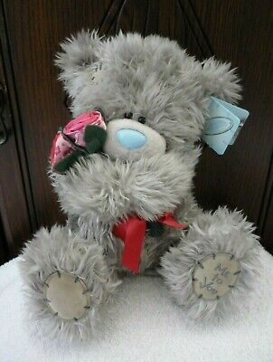 Me To You Tatty Teddy Bear With Tags Soft Toy With Red Roses/Flowers & Bow