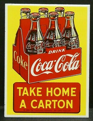 "Dollhouse Miniatures Metal Sign Advertising Coke Carton COCA COLA 1 5/8""x 2 1/4"""