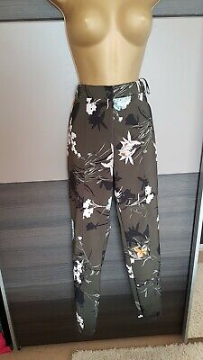 River Island khaki stretchy peg trousers floral pattern office smart size 10