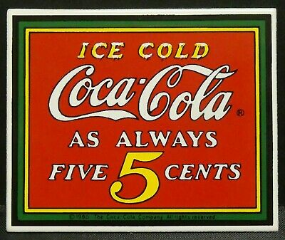 "Dollhouse Miniatures Metal Sign Advertising Ice Cold COCA COLA 2 1/8"" x 1 3/4"""