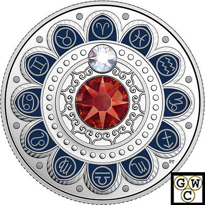 2017'Aries-Zodiac Series' Crystalized Proof $3 Silver Coin .9999 Fine(18062)(NT)