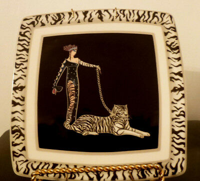 Italian Ceramics Company, Icc, Wild Cats Plate, 8 ' Square, With Plate Holder.