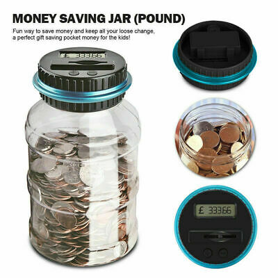 Electronic Digital LCD GBP Coin Counter Counting Jar Money Saving Piggy Bank Box