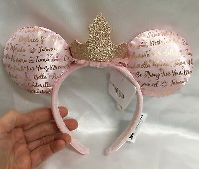 Disney Parks Dream Big Princess Pink and Rose Gold Minnie Mouse Ears Headband