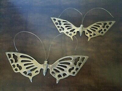 Vintage Brass BUTTERFLY Wall Hanging Pair Of Butterflies In Flight Art Garden