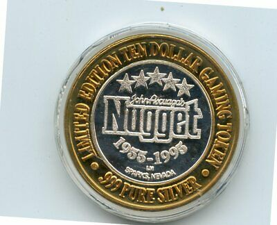 1955-1995 $10 Nugget Casino .999 Fine Silver Gaming Token (In Holder)