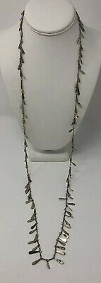Vintage 925 Sterling Silver Ethnic Dangly Link Long Opera Length Layer Necklace