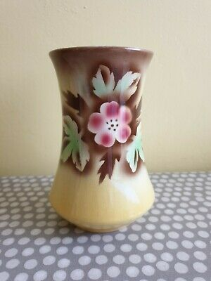 Vintage Ceramic Yellow Chamber Vase With Floral Design